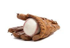 Baseball glove and ball on white Royalty Free Stock Photos