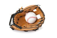 Baseball glove with ball  on white. Image of baseball inside glove  on white background Stock Photo