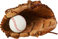 Baseball glove and ball. On a white background Stock Photos