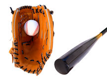 Baseball Glove and Bat Stock Image