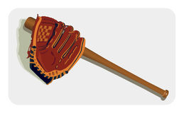 Baseball Glove and Bat Royalty Free Stock Image