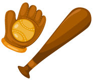 Baseball glove, bat and ball Royalty Free Stock Images