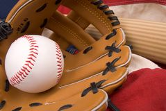 Baseball glove,bat and ball stock photo