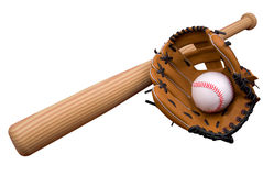 Baseball glove, bat and ball on stock image