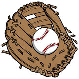 Baseball and Glove. Cartoon illustration of  a Baseball and Glove Stock Photography