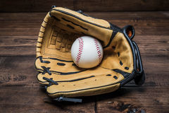 Baseball glove with the hand Stock Image