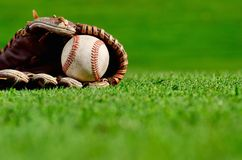 Baseball in glove. Baseball in leather glove on grass in sunny field Stock Images