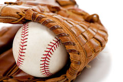 Baseball glove or mitt and ball Royalty Free Stock Photo