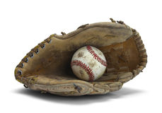 Baseball Glove. Old Worn Glove and Baseball  on a White Background Stock Photo