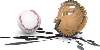 Baseball and glove splat. Baseball and baseball glove isolated in splattered mud Royalty Free Stock Images