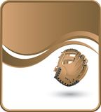 Baseball glove on wave background. Baseball glove template with brown background Stock Photos