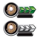 Baseball glove web banners. Baseball gloves on silver and green web banners Stock Photo