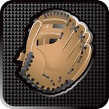 Baseball glove web icon. Baseball glove web button with black triangle look Stock Photo