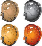 Baseball gloves. 4 multiple colored baseball gloves Royalty Free Stock Photos
