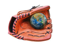 Baseball gloves and ball, earth sign ,including elements furnish. Ed by NASA stock image