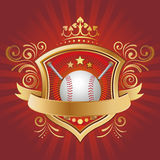 Baseball and gold shield Royalty Free Stock Photos