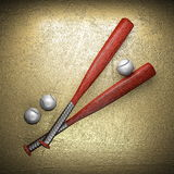 Baseball and golden wall Stock Images