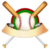 Baseball graphic Illustration. Baseball graphic with bats and ball; there is blank banner which could be used for text royalty free illustration