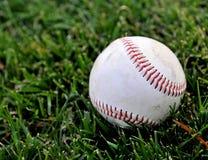 Baseball on grass. Closeup of a baseball on a grassy field Stock Photography