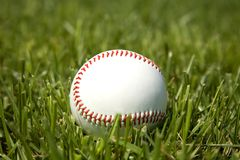 Baseball in the grass Stock Images