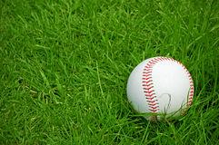 Baseball on green grass pitch Stock Photos