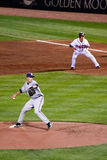 Baseball - Greinke Slidestep with Runner on 1st Stock Images
