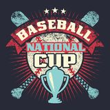 Baseball grunge vintage poster with cup, stars, crossed bats and ball Royalty Free Stock Photo