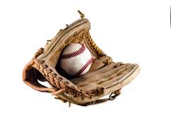 Baseball gry piłka i mitenka Zdjęcia Royalty Free