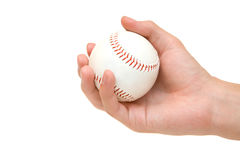 Baseball in hand. Isolated on white stock photos