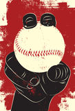 Baseball in hand. Hand holding a baseball with a fastball grip vector illustration