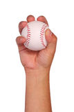 Baseball in Hand isolated on white. Ball with clipping path Royalty Free Stock Image