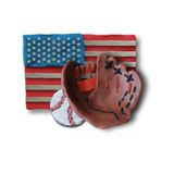 Baseball handmade glove and ball. With US flag on background. Vector illustration. Plasticine modeling Royalty Free Stock Image
