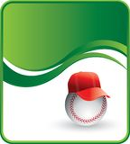 Baseball with hat. Baseball wearing a hat on a green wave background Royalty Free Stock Images