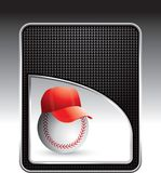 Baseball with hat on black checkered background Royalty Free Stock Photos
