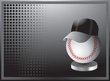 Baseball with hat on black halftone banner Royalty Free Stock Photos