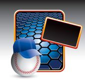 Baseball with hat on blue hexagon banner Stock Photo