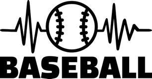 Baseball heartbeat line. Heartbeat pulse line with baseball royalty free illustration