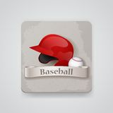 Baseball helmet and baseball icon. Royalty Free Stock Images