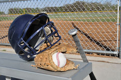 Baseball, Helmet, Bat, and Glove Stock Photo