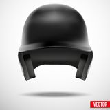 Baseball helmet front view vector. isolated. Baseball black helmet isolated background. Front view. Vector sport softball Illustration Royalty Free Stock Photo