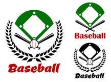 Baseball heraldic emblems or badges Royalty Free Stock Images