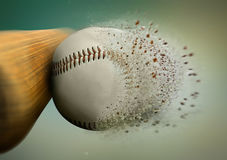 Baseball hit. With the ball disintegrating Royalty Free Stock Photos