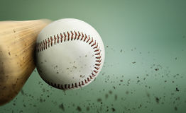 Baseball hit. Close up with a baseball hit Stock Photography