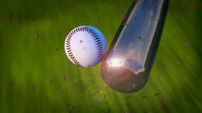 Baseball Hit. Image of Baseball Bat Hitting Ball. See also animated version of this image in my portfolio footage section Royalty Free Stock Photo