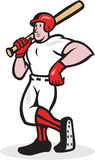 Baseball Hitter Bat Shoulder Cartoon Stock Image