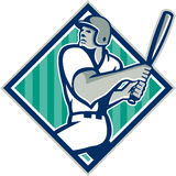 Baseball Hitter Batting Diamond Retro Stock Photo