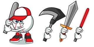 Baseball holding a bat mascot vector cartoon illustration stock illustration