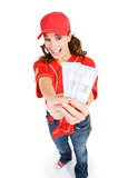 Baseball: Holding Tickets to the Game Royalty Free Stock Image
