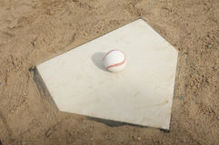Baseball On Home Plate Stock Image