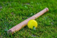 Baseball and a homemade bat on the grass. Concept children`s sports